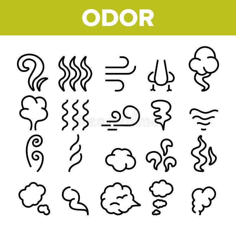Odor, fumo, grupo linear dos ?cones do vetor do cheiro ilustração royalty free
