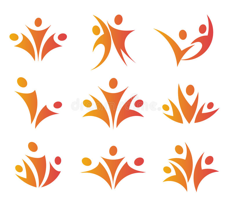Odosobneni abstrakcjonistyczni pomarańczowi kolor jedności logów ustawiających na białej tło wektoru ilustraci ludzie ilustracji
