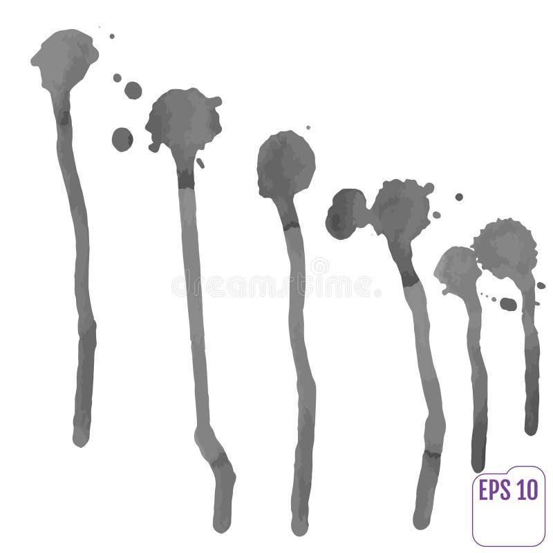 Odosobneni akwareli splatters ustawiający, projekta element wektor ilustracji
