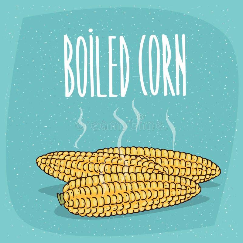 Odosobneni cali gotowani kukurydzani ucho z gorącą kontrparą royalty ilustracja
