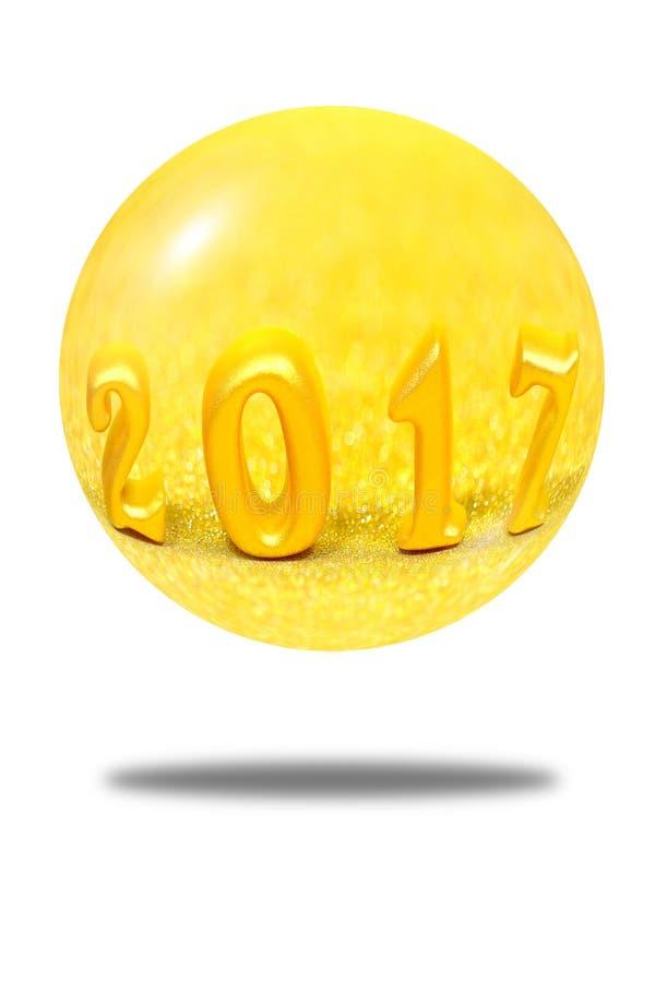 Odosobneni 2017 3d przedmiotów w złocistej błyskotliwości piłce na białym tle obraz royalty free