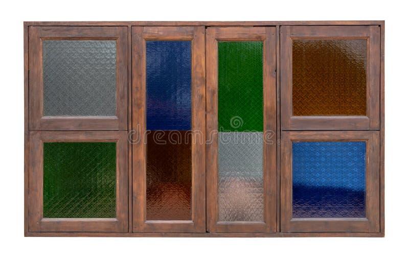 Odosobneni drewniani okno i kolorowy szkło obraz royalty free