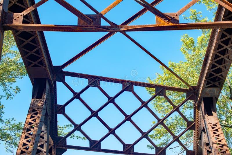 Odosobneni gidders na rocznika kolejowym moscie fotografia royalty free