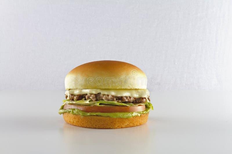 Odosobneni hamburgerów strzały na bielu obrazy stock