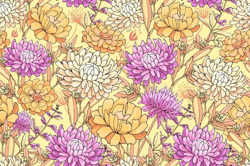 Odosobneni jesień kwiaty ilustracja wektor