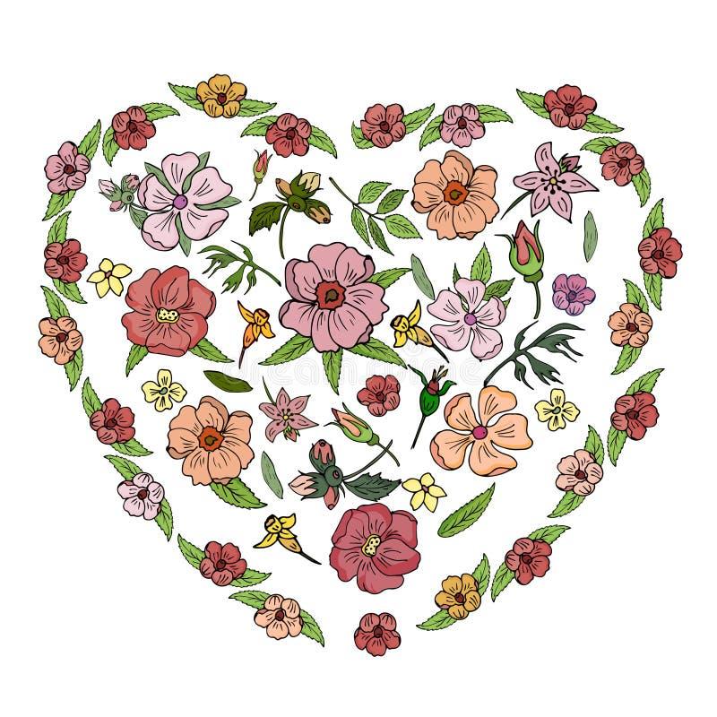 Odosobneni przedmioty różowi kwiaty na białym tle wektor ilustracji