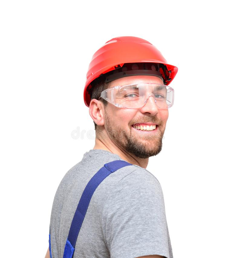 Odosobneni rzemieślnika pracownika budowlanego asembler robociarzi - frien fotografia stock