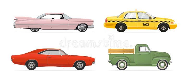 Odosobneni samochody ustawiający na białym tle również zwrócić corel ilustracji wektora ilustracji