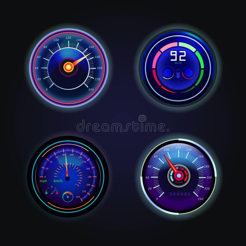 Odosobneni szybkościomierze lub wymierniki dla prędkości ilustracja wektor
