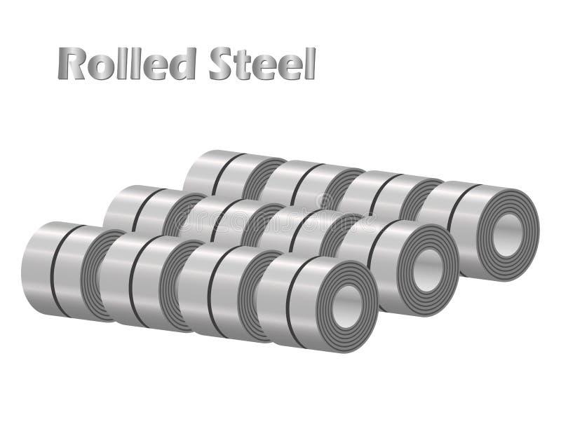 Odosobneni wektorowi zapasy staczać się stalowe zwitek patki w fabryka magazynie, metalu żelaza prześcieradła przemysł royalty ilustracja