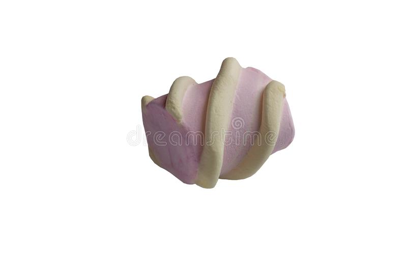 Odosobnienie, różowi marshmallows z jasnożółtymi kędziorami, biały tło zdjęcie royalty free