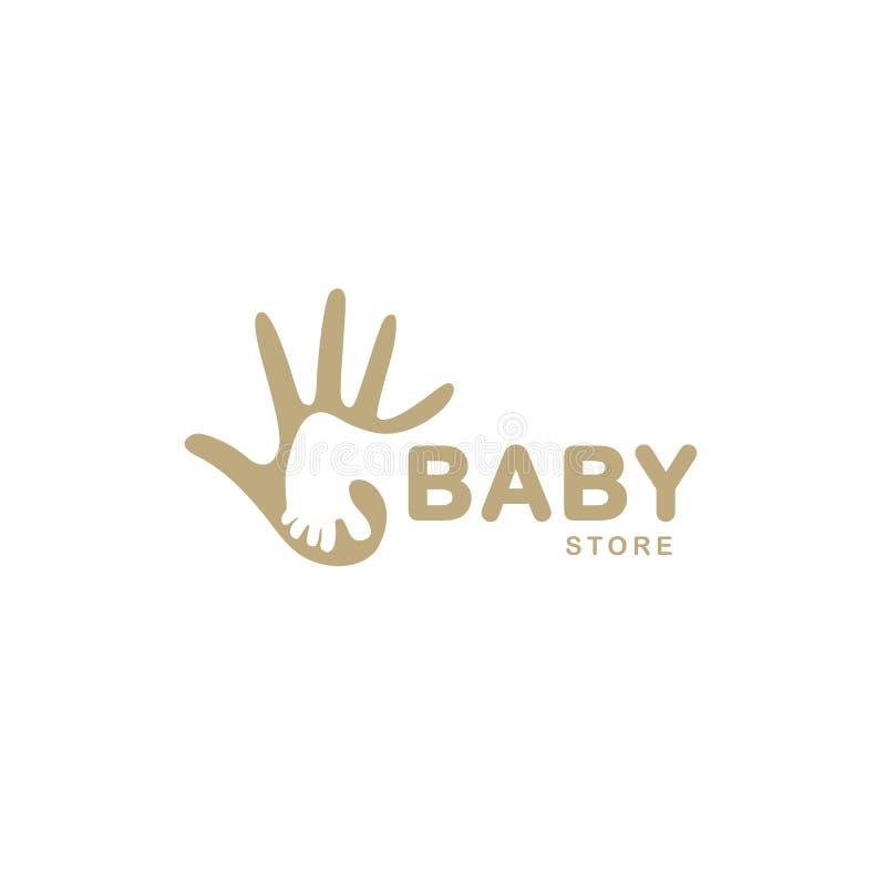Odosobniona abstrakcjonistyczna beżowa dziecko stopa w dorosłym ręka logu Negatywu astronautyczny logotyp Żartuje buta sklepu iko royalty ilustracja