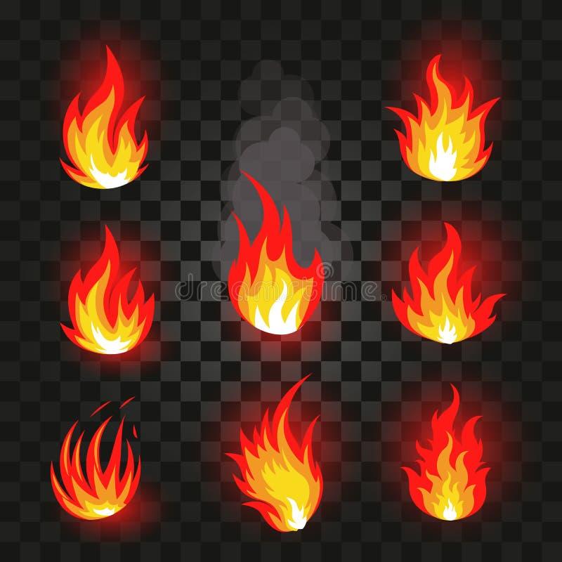 Odosobniona abstrakcjonistyczna czerwień i pomarańczowy koloru ogień płoniemy loga ustawiającego na czarnym tle Realistyczny gorą ilustracji