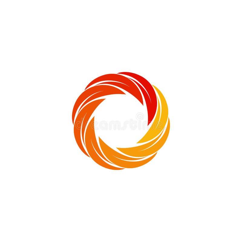 Odosobniona abstrakcjonistyczna czerwień, pomarańcze, żółty kółkowy słońce logo Round kształta logotyp Zawijasa, tornada i huraga royalty ilustracja