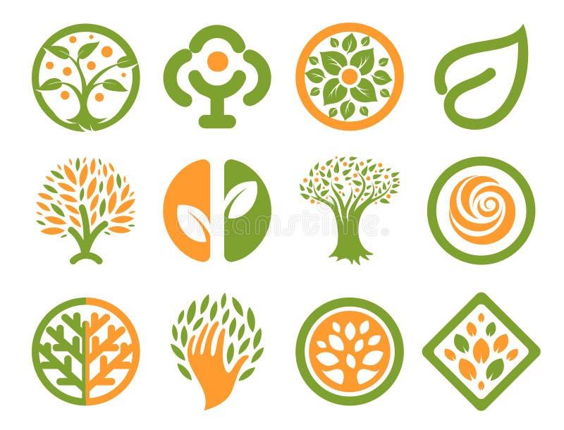 Odosobniona abstrakt zieleń, pomarańczowego koloru loga naturalny set Natura logotypy inkasowi Środowiskowe ikony Parkowy emblema ilustracji
