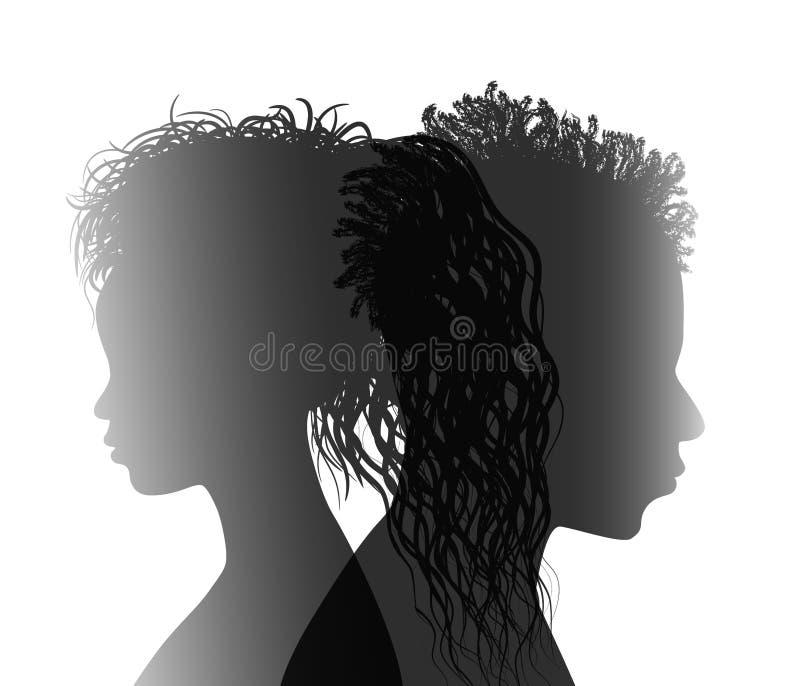 Odosobniona amerykanin afryka?skiego pochodzenia pary sylwetka Rozwiedziony m??czyzna i kobieta Rozwodowy poj?cie Ko?c?wka ?lub R royalty ilustracja