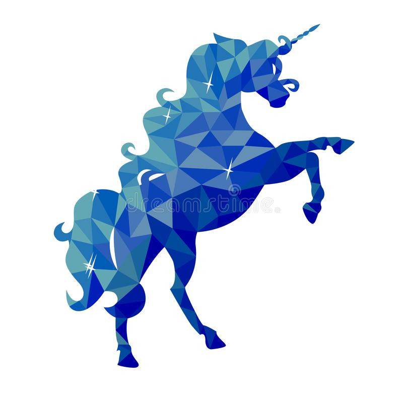 Odosobniona błękitna jednorożec w niskim poli- stylu na białym tle ilustracja wektor
