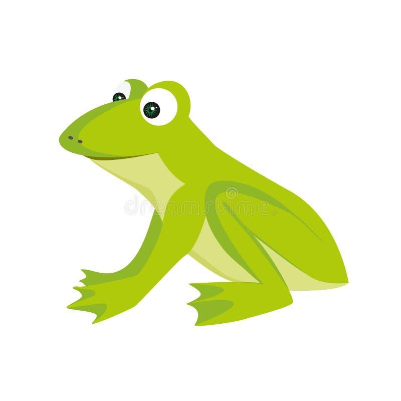 Odosobniona barwiona kreskówka zielonego koloru siedząca żaba z uśmiechem na białym tle royalty ilustracja