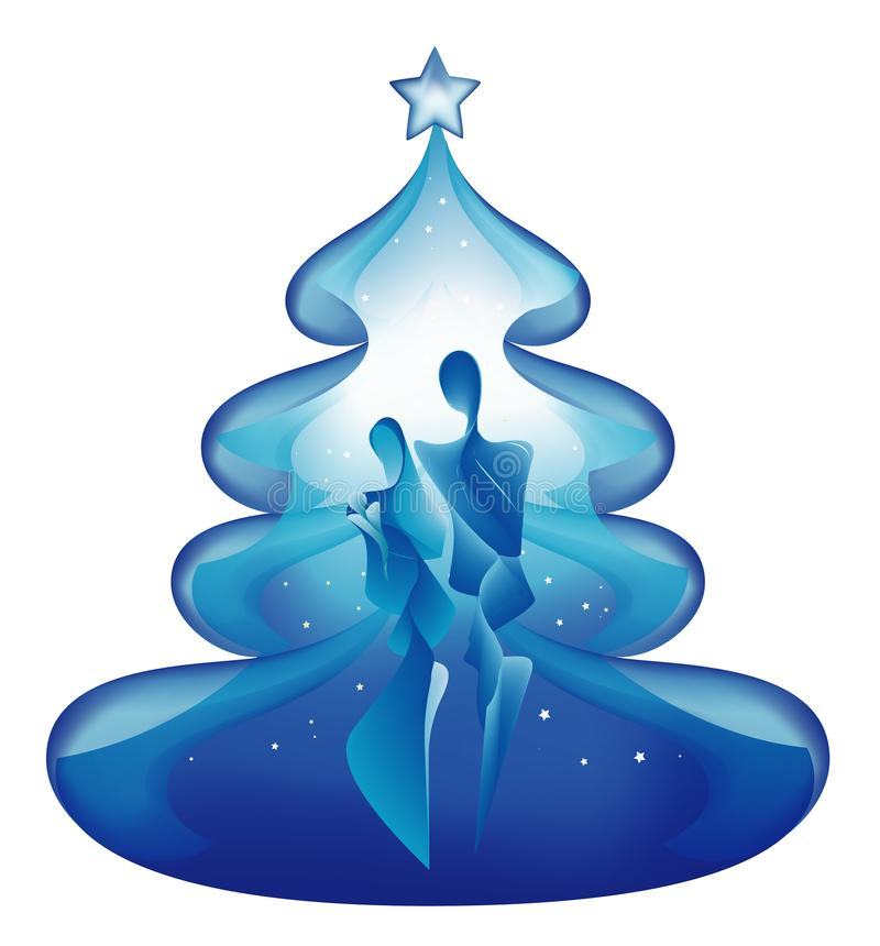 Odosobniona choinka z abstrakcjonistyczną narodzenie jezusa sceną na błękitnym tle ilustracji