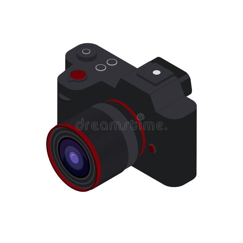 Odosobniona cyfrowa fotografii kamery 3D ikona na białym tle Czarna mirrorless isometric kamera royalty ilustracja