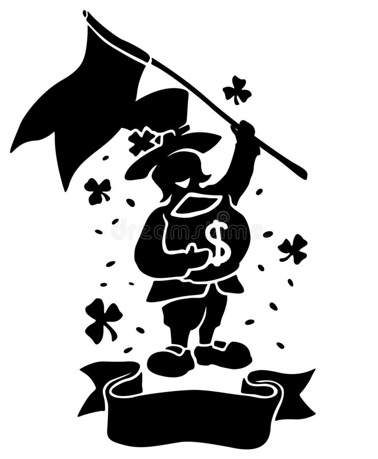 Odosobniona czarna sylwetka leprechaun z flagą ilustracji