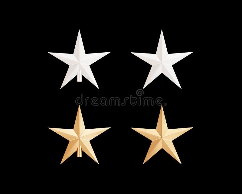 Odosobniona dekoracyjna gwiazda dla choinki na białym tle ilustracji