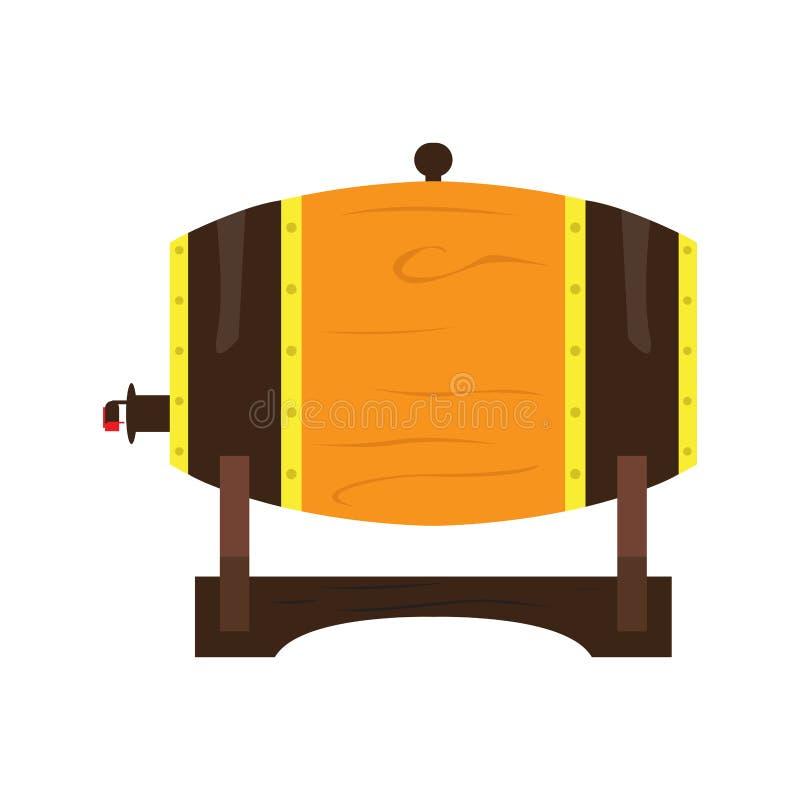 Odosobniona drewniana piwna baryłka royalty ilustracja