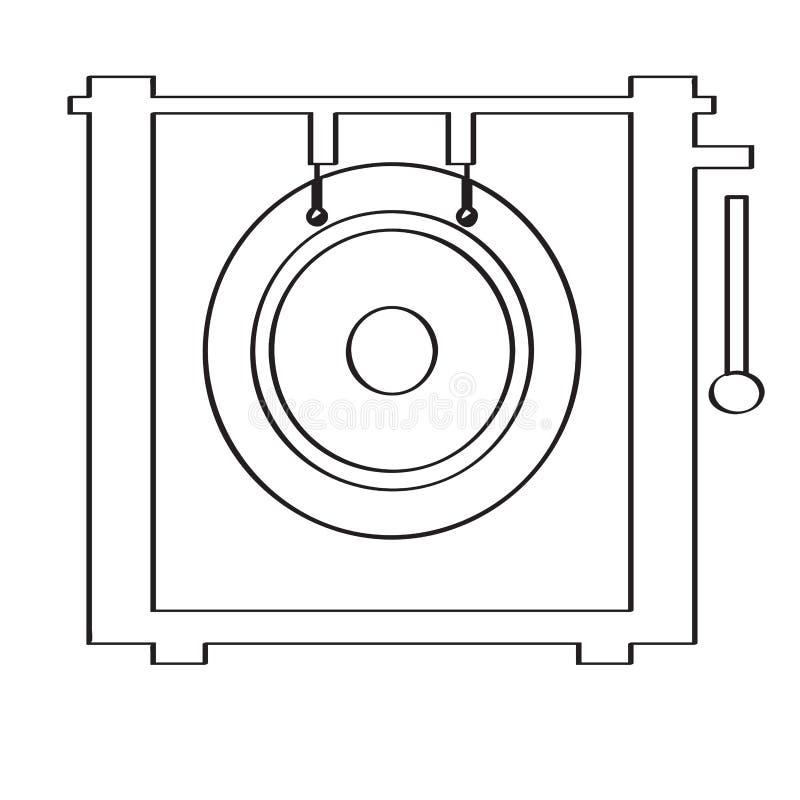 Odosobniona gong ikona hornsection instrument muzyczny części saksofon royalty ilustracja