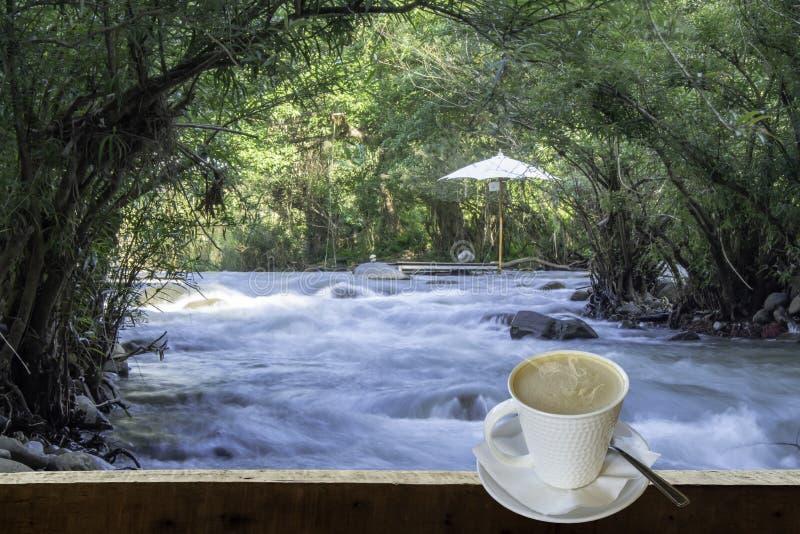 Odosobniona Gorąca kawa Stawia szkło biel z przypadkową przerwą dla zdjęcia stock