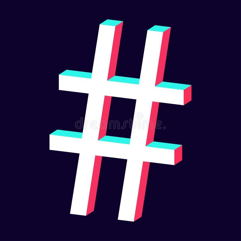 Odosobniona hashtag ikona 3d na ciemnym tle ilustracji