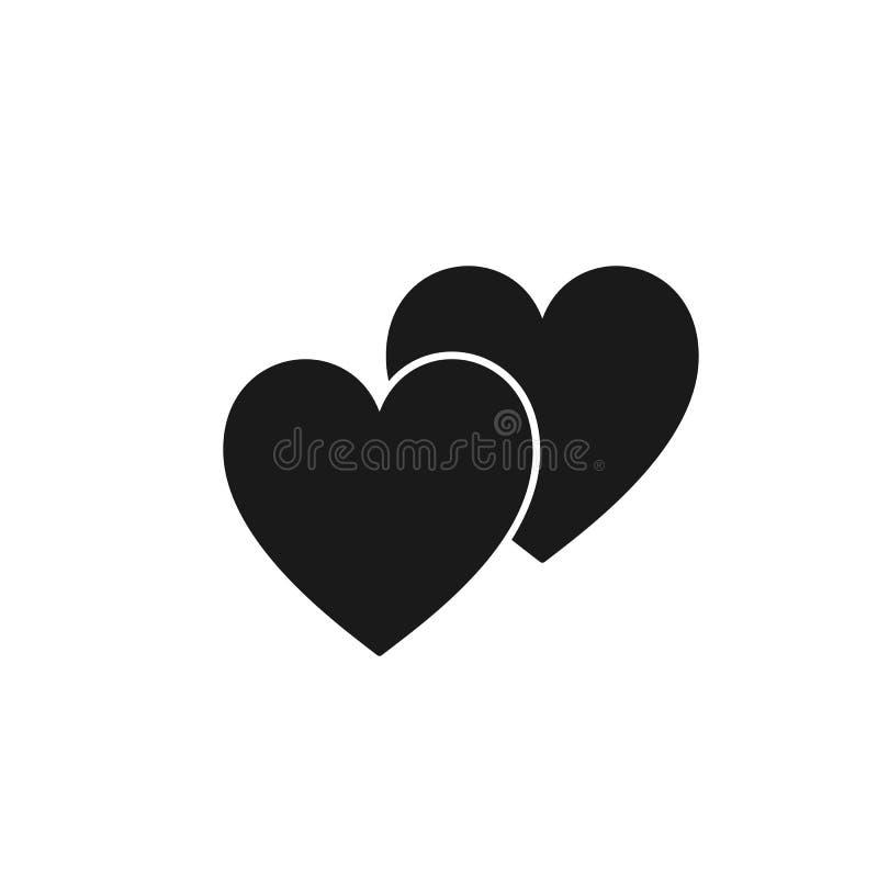 Odosobniona ikona dwa czarnego serca na białym tle Sylwetka dwa serca Płaski projekt Symbol miłość i para royalty ilustracja