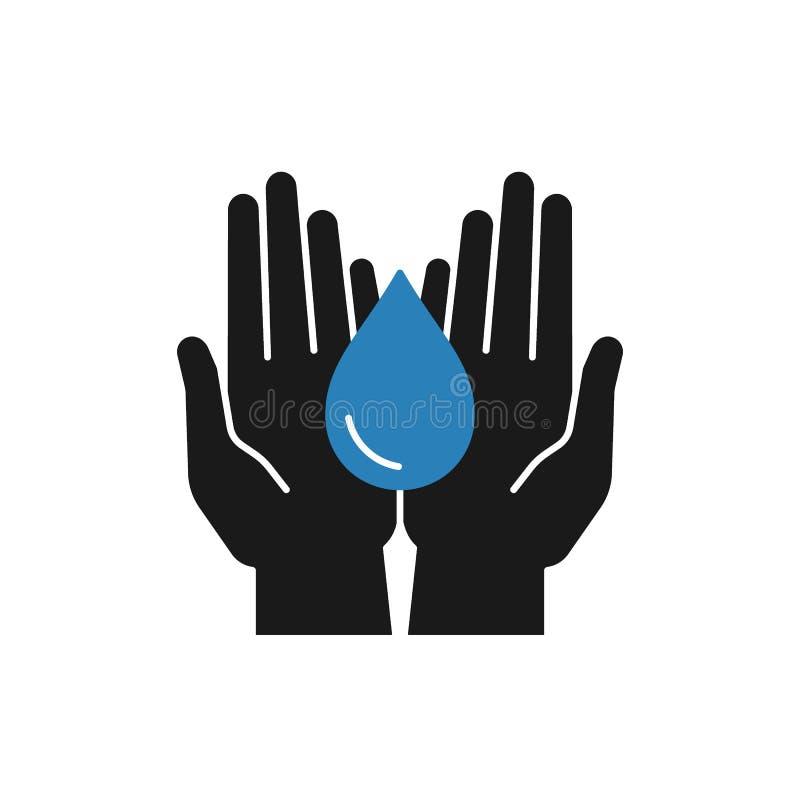 Odosobniona ikona wody kropla w otwartych r?kach na bia?ym tle Sylwetka b??kitne aqua opadowe i czarne r?ki Symbol opieka, royalty ilustracja