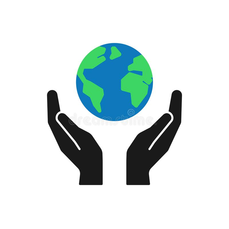 Odosobniona ikona zielona planeta, ziemia w czarnych rękach na białym tle Kolor ręki i kula ziemska Symbol opieka, ochrona oprócz ilustracji
