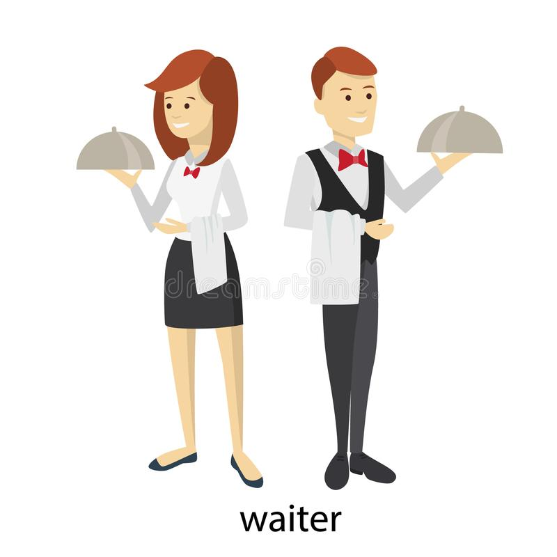 Odosobniona kelner para ilustracji