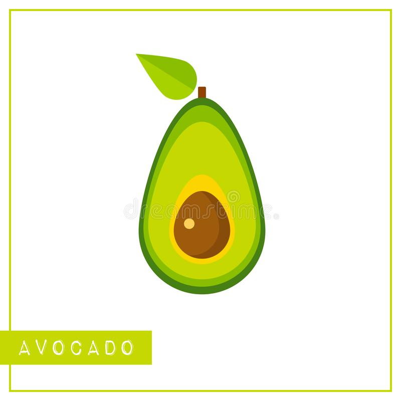 Odosobniona kolorowa avocado pamięci szkolenia karta ilustracja wektor