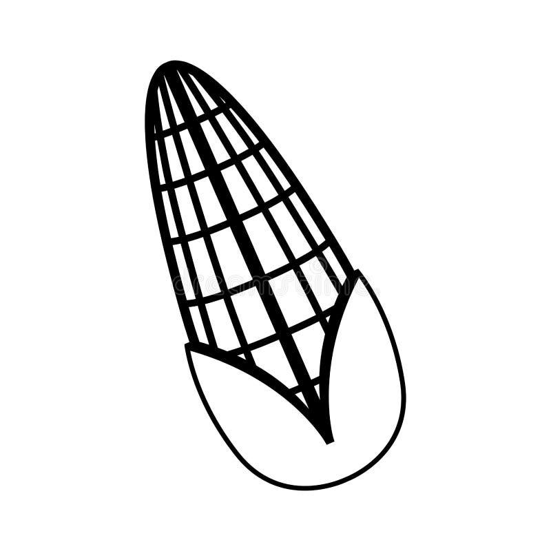 Odosobniona kukurydzanego cob ikona ilustracji