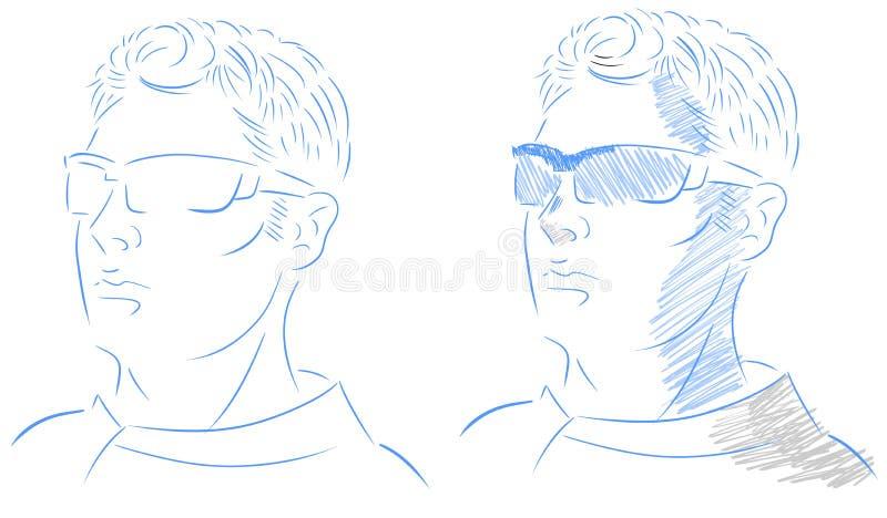 Odosobniona mężczyzna twarz artystyczna z szkłami royalty ilustracja