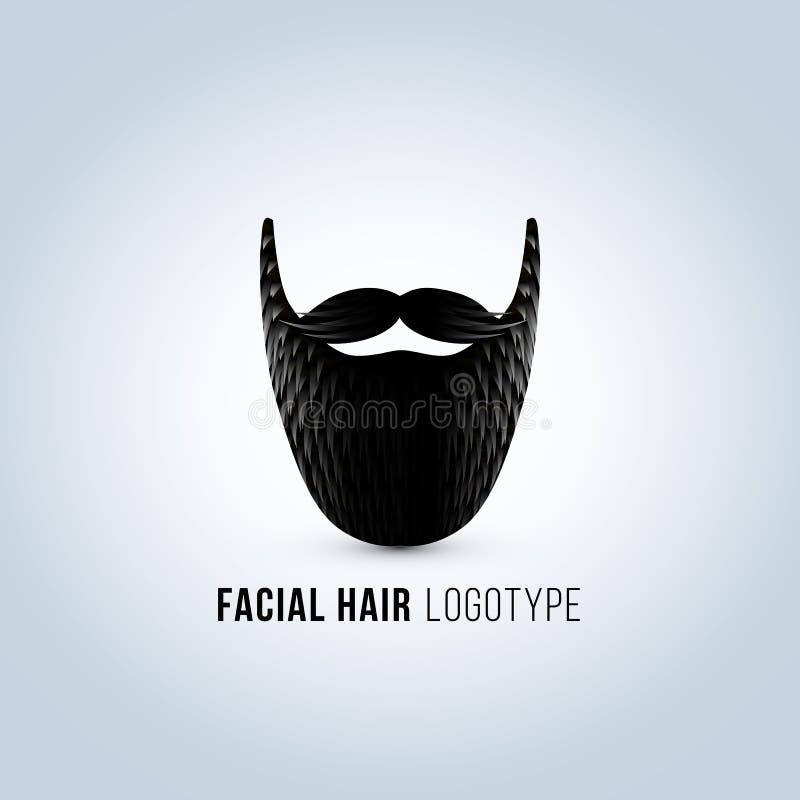 Odosobniona męska twarz z wąsy i brody wektoru logem Fryzjera męskiego sklepu logotyp royalty ilustracja