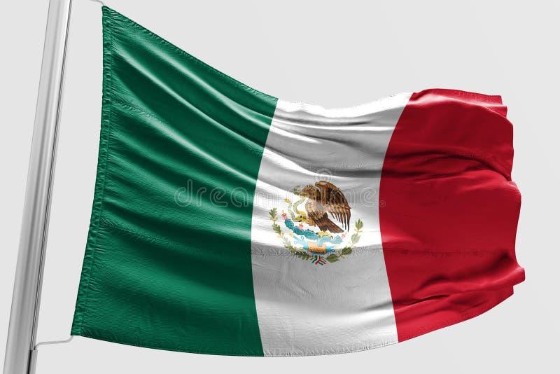 Odosobniona Meksykańska flaga macha 3d Realistyczną Meksykańską flaga Odpłacającą się royalty ilustracja