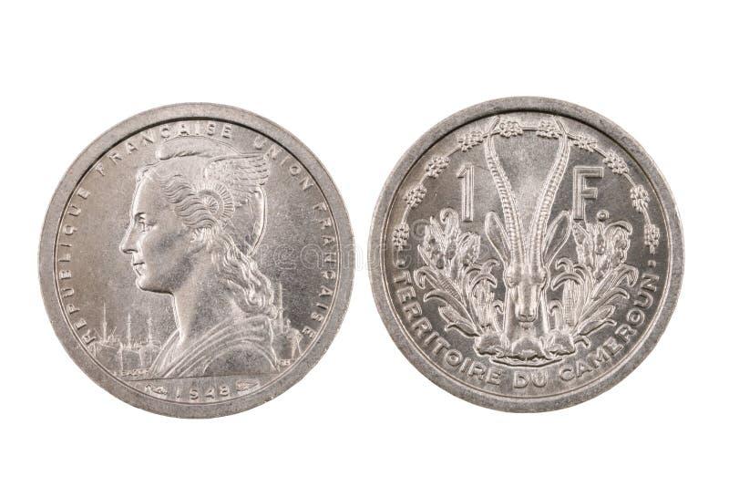 Odosobniona moneta Od francuza Cameroon zdjęcia stock