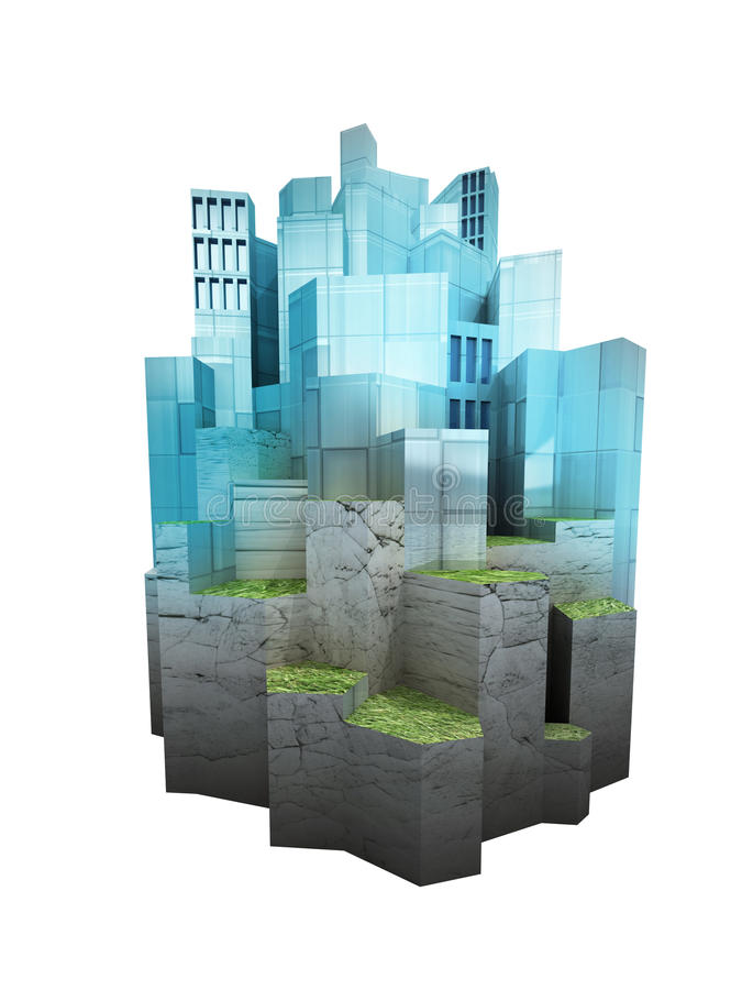 Odosobniona nowożytna miasto wyspa osiedlająca na wzgórze poziomach odpłaca się ilustracji