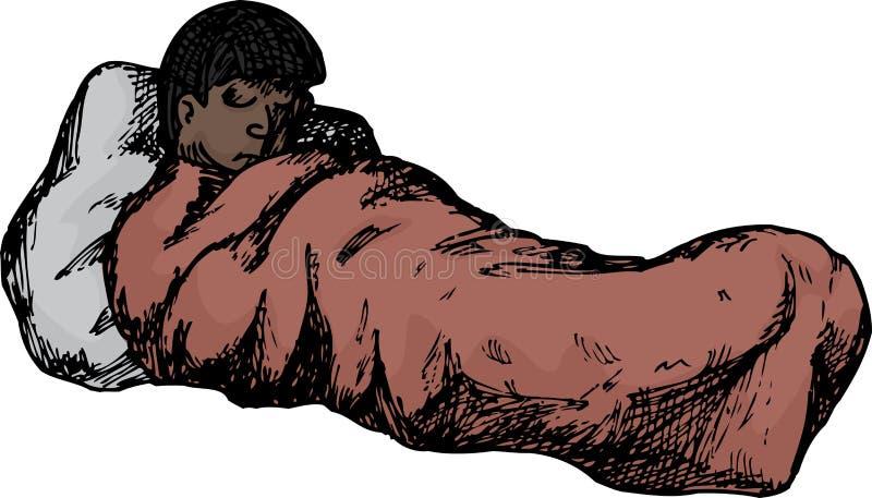 Odosobniona osoba w Sypialnej torbie royalty ilustracja