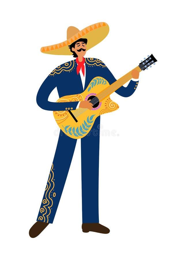 Odosobniona Płaska kreskówka meksykański mężczyzna bawić się gitarę w sombrero na białym tle, ręka rysunek doodles wektor ilustracji