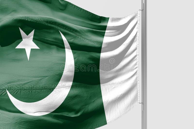 Odosobniona pakistańczyk flaga macha 3d Realistyczną tkaninę fotografia royalty free
