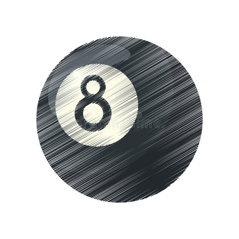 Odosobniona piłka bilardowy projekt ilustracji