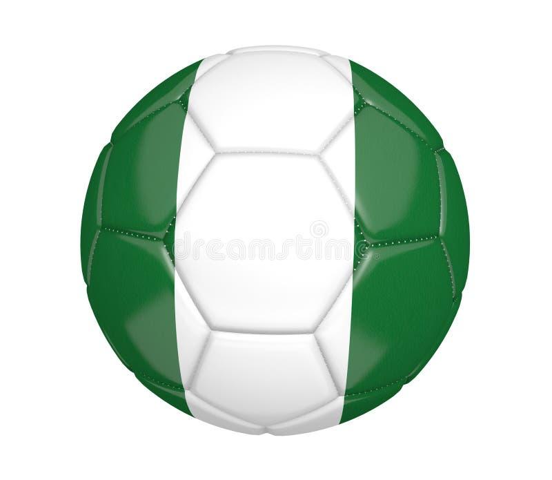 Odosobniona piłki nożnej piłka lub futbol, z kraj flaga Nigeria royalty ilustracja