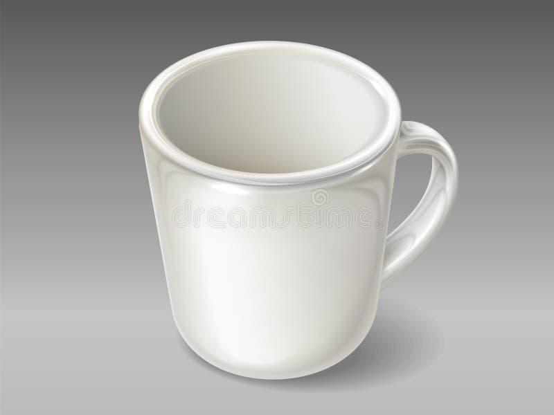 Odosobniona porcelany filiżanka dla herbaty lub kawy ilustracja wektor
