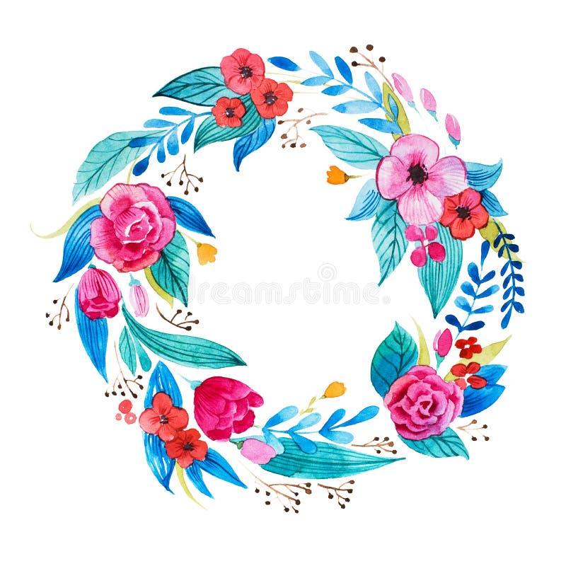 Odosobniona ręka malujący akwareli kwiecisty coronet robić delikatni kwiaty i ulistnienie royalty ilustracja