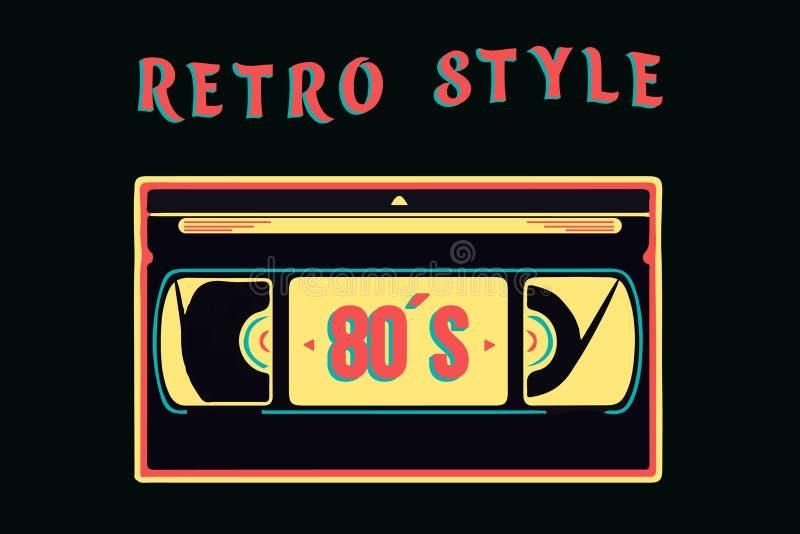 Odosobniona retro osiemnaście vhs wideo kaseta w kolorowym stylu, wektorowy ilustracyjny neonowy styl royalty ilustracja