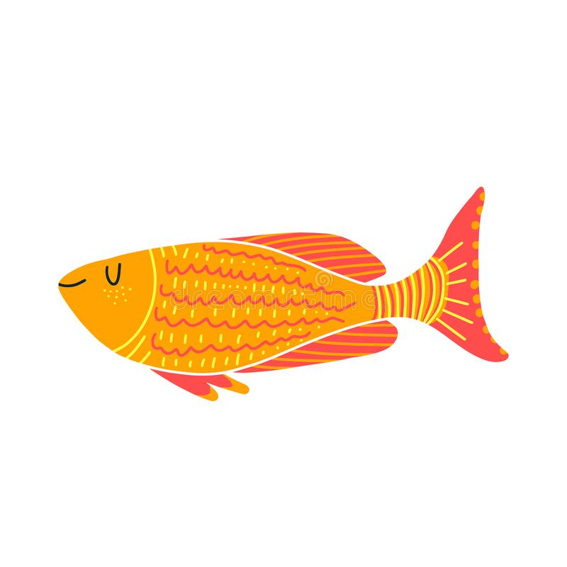 Odosobniona rybia ilustracja Set s?odkowodne akwarium kresk?wki ryby ilustracja wektor